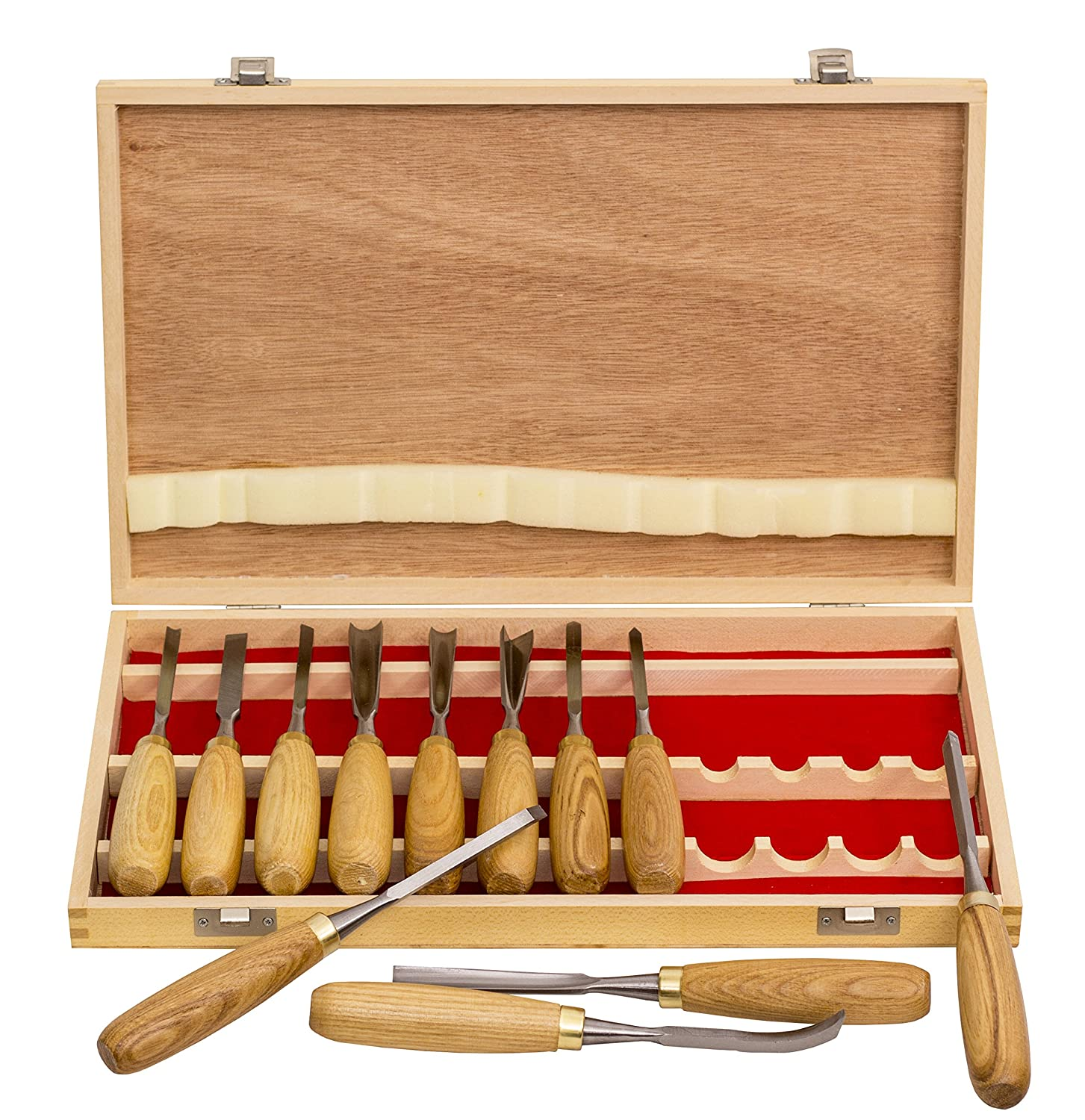 12-PC Professional Carving Chisel Tool Set with American Ash Wood Handle WISDOM TOOL
