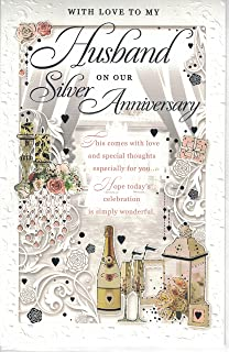 Husband 25th Anniversary Card With Love To My On Our Silver Large