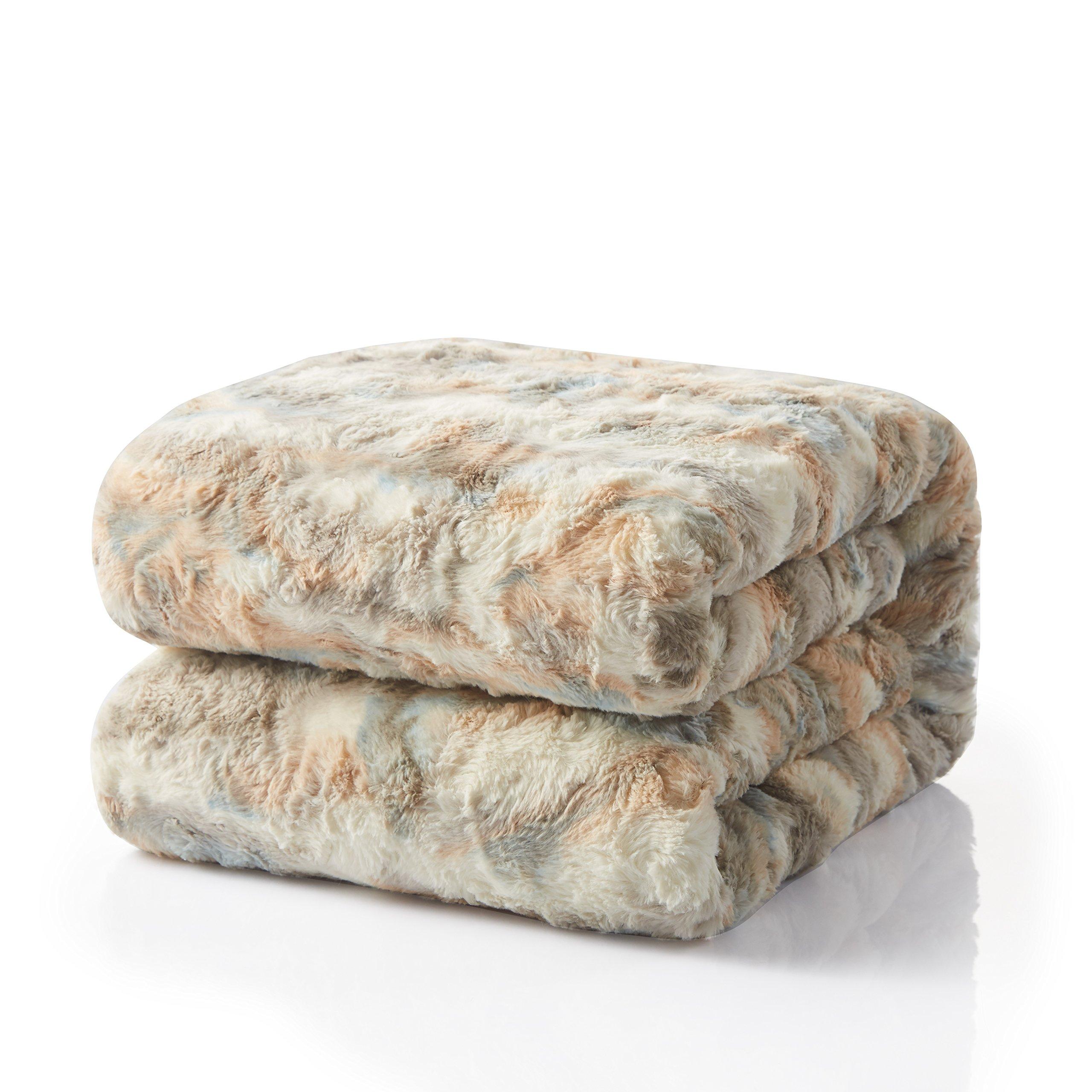 Tache 50x60 Brown Russian Lynx Faux Fur Throw Blanket