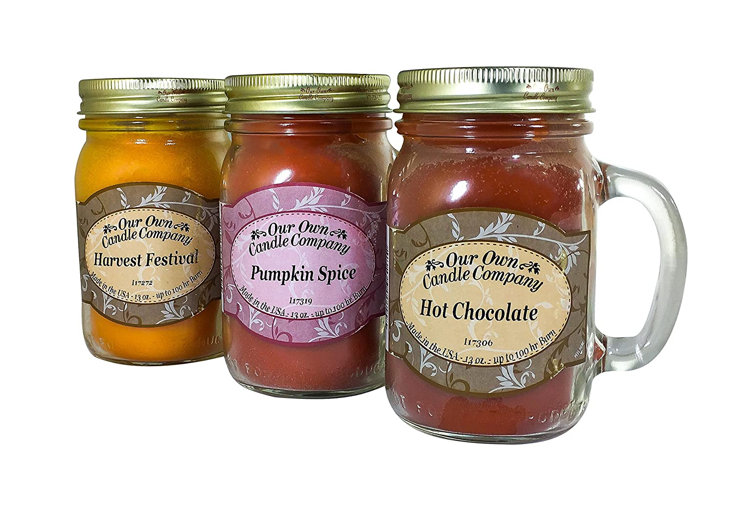 Our Own Candle Company Our Own Harvest Festival, Pumpkin Spice Hot Chocolate-Autumn Variety Scented Mason Jar Candles, 13 oz (3 Pack)