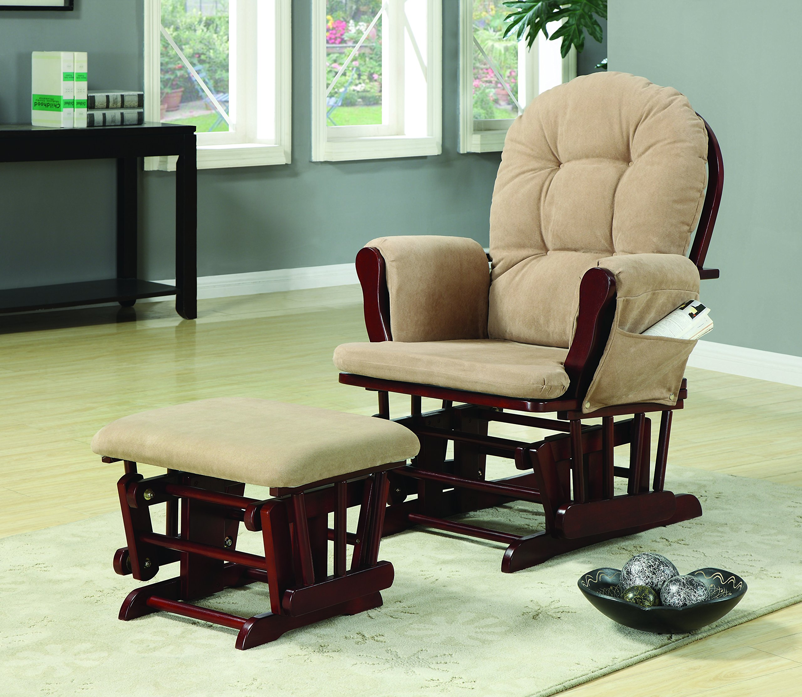 Upholstery Glider Rocker with Matching Ottoman Beige and Cherry by Coaster Home Furnishings