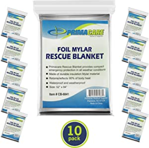 "Primacare HB-10 Emergency Foil Mylar Thermal Blanket (Pack of 10), 52"" Length x 84"" Width, Silver"