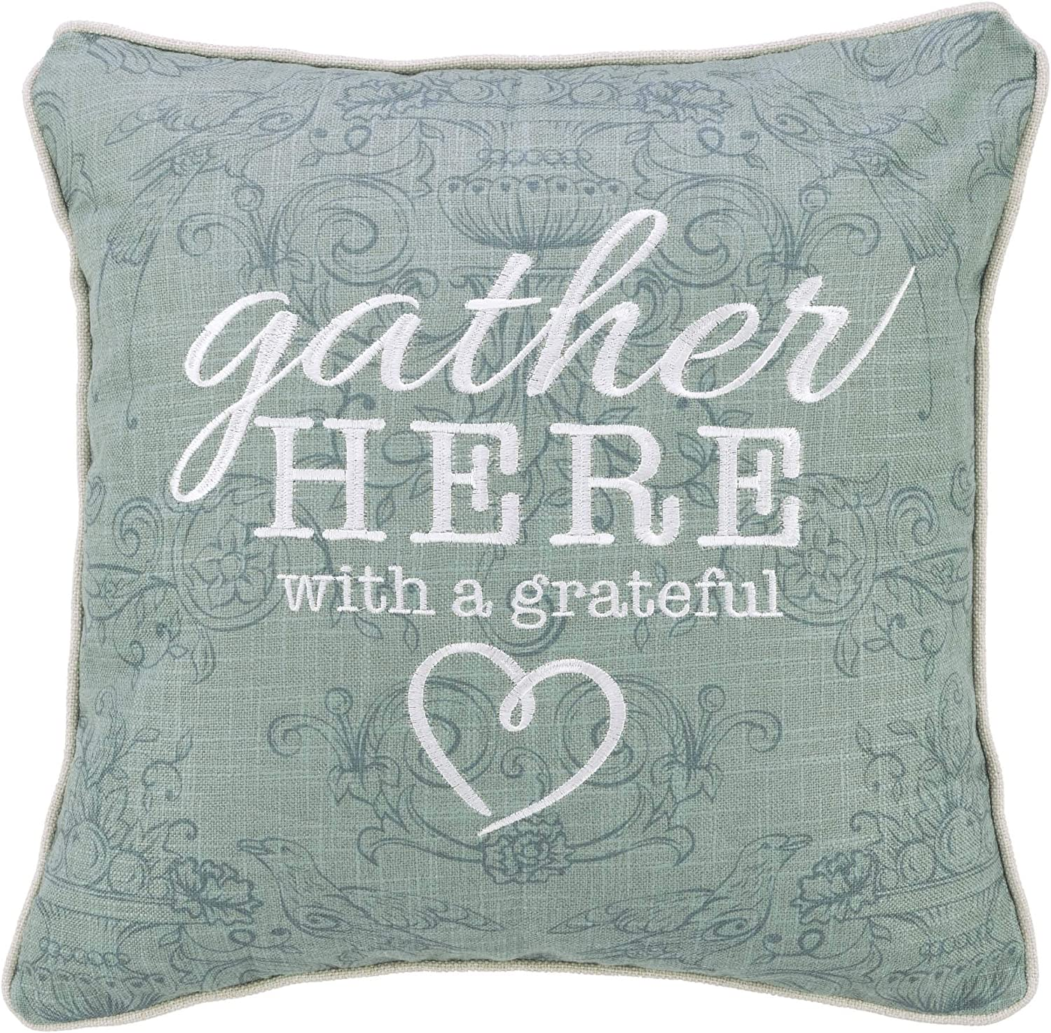 Christian Art Gifts Decorative Throw Pillow | Gather Here with A Grateful Heart| Embroidered Green Couch Pillow and Inspirational Home Decor, 18 x 18