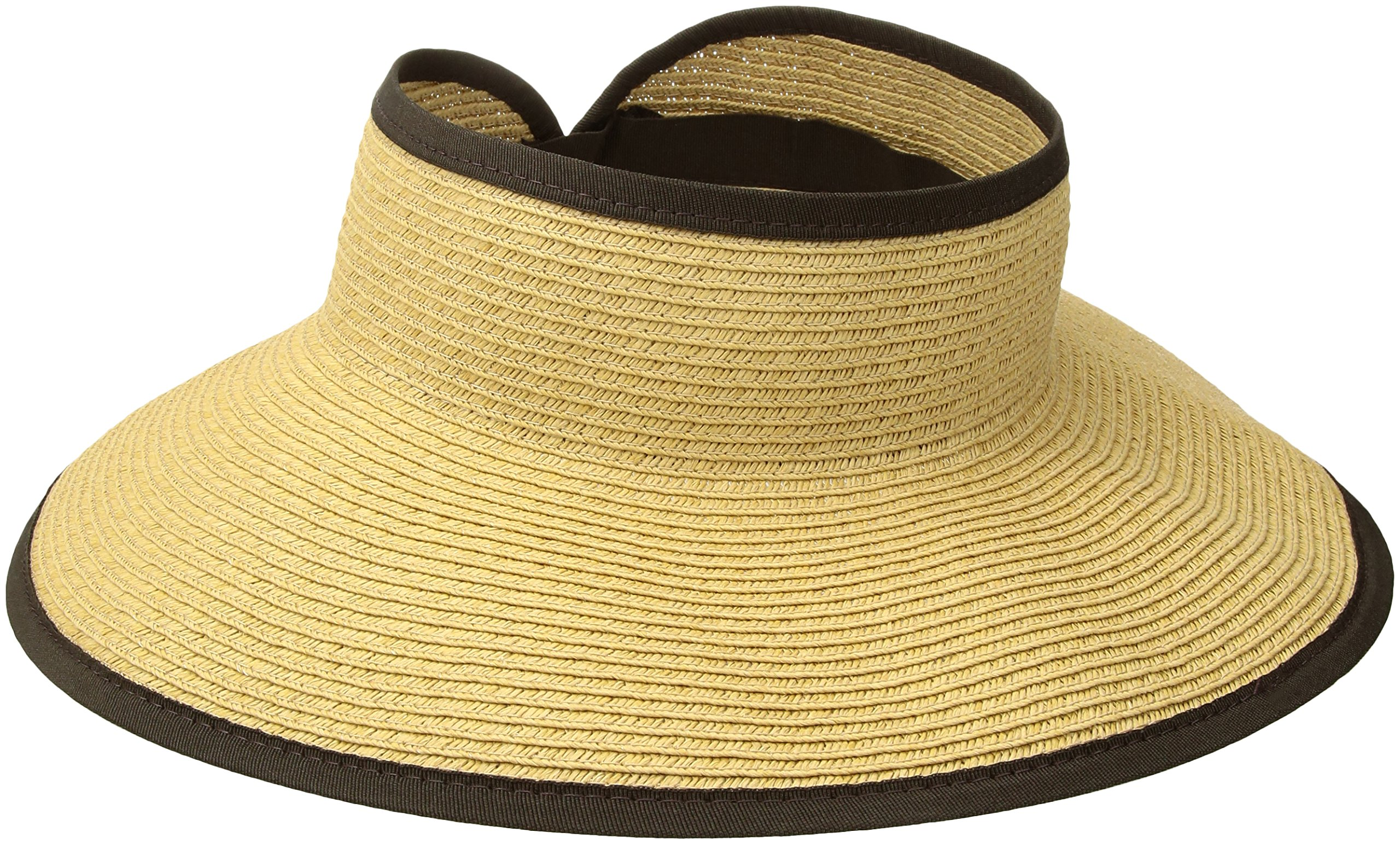 San Diego Hat Company Women's Ultrabraid Visor with Ribbon Binding, and Sweatband, Camel Brown, One Size by San Diego Hat Company
