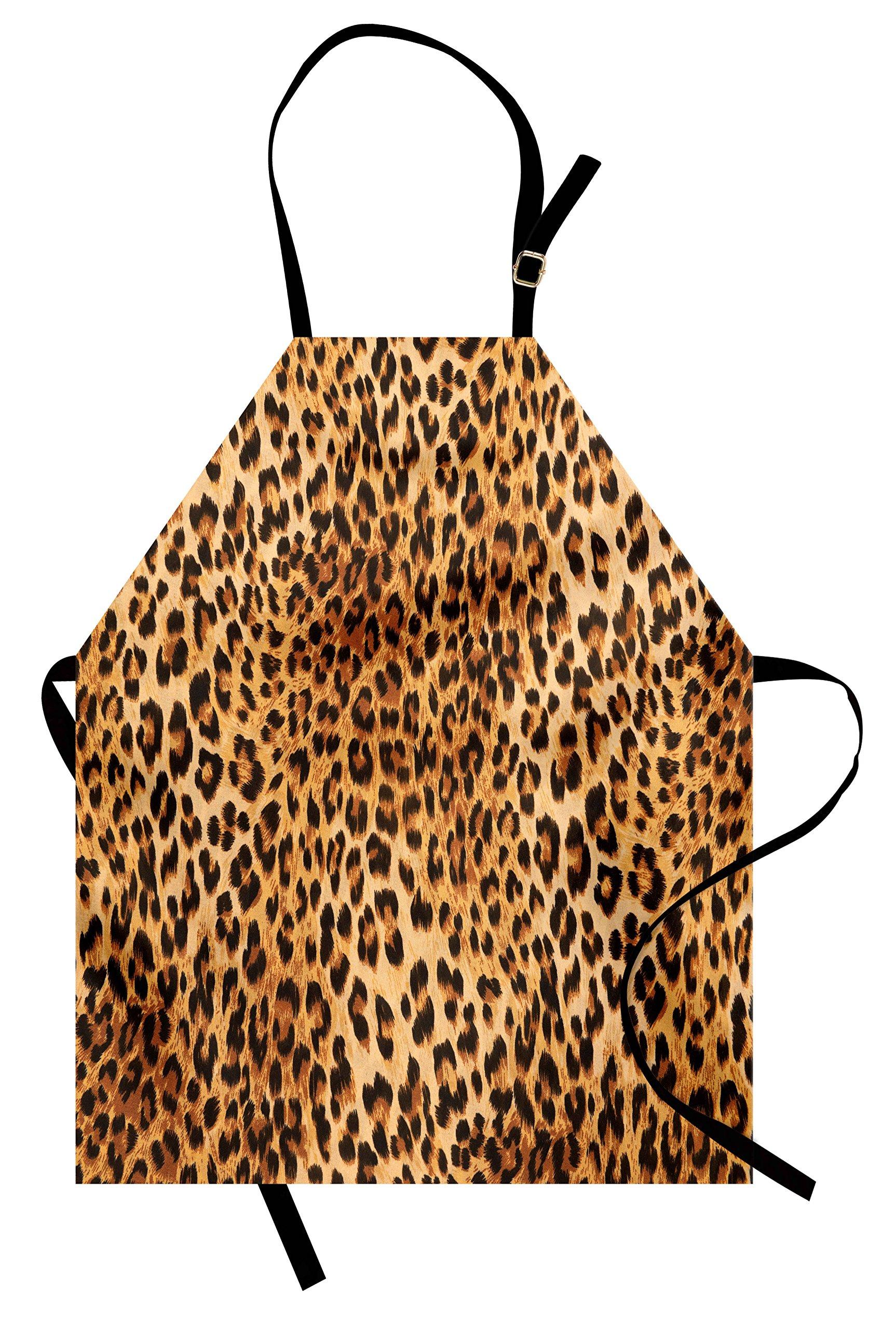 Lunarable Animal Print Apron, Wild Animal Leopard Skin Pattern Wildlife Nature Inspired Modern Illustration, Unisex Kitchen Bib Apron with Adjustable Neck for Cooking Baking Gardening, Sand Brown