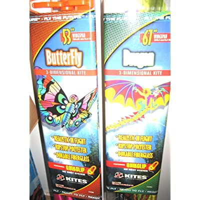 "X Kites Fly The Future Butterfly 3-D Kite 53"" Wingspan OR Dragon 67\"" Wingspan: Toys & Games [5Bkhe0502166]"