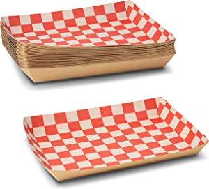 """Whimsical Red and White Kraft Checkerboard Lunch or Cafeteria Food Tray Size: 10.5"""" x 7.5"""" x 1.5"""" inches by MT Products (20 Pieces)"""
