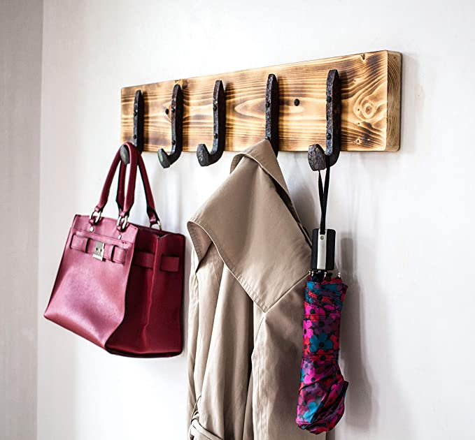 Amazon.com: Vintage Rustic Coat Rack –Authentic Pine Wood Hanger Rack For Towels, Clothes, Hats, Bags–Antique Door & Wall Mounted 5-Hook Rail (Railroad ...
