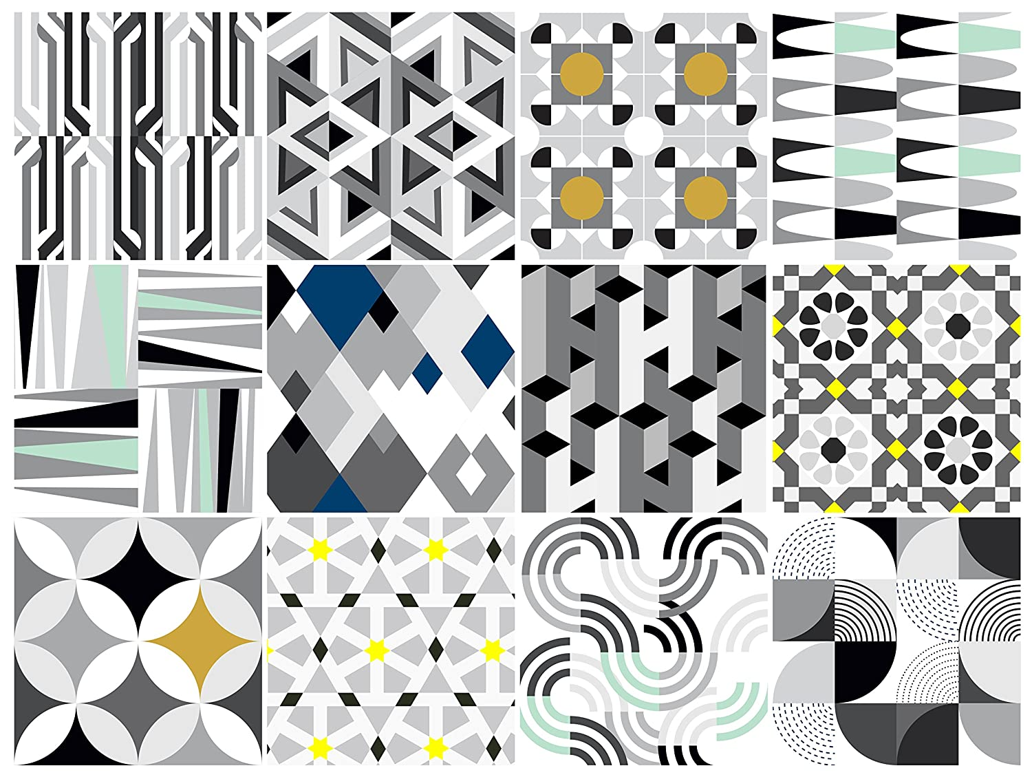 BAUHAUS Decorative Tile Stickers Set 12 units 6x6 inches. Peel & Stick Vinyl Tiles. Backsplash. Home Decor. Furniture Decor.