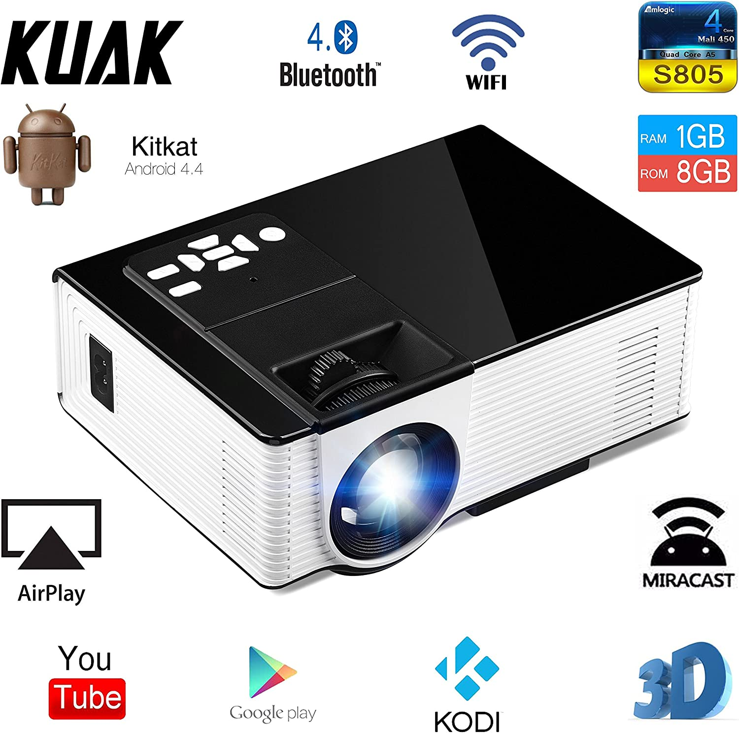 kuak Android LED LCD mini proyector de vídeo portátil Wifi ...