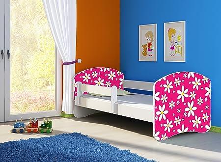 Clamaro Fantasia - Cama infantil con protector anti-caídas, colchón, somier y cajón de cama con ruedas, sin bordes ni esquinas afiladas gracias a ...