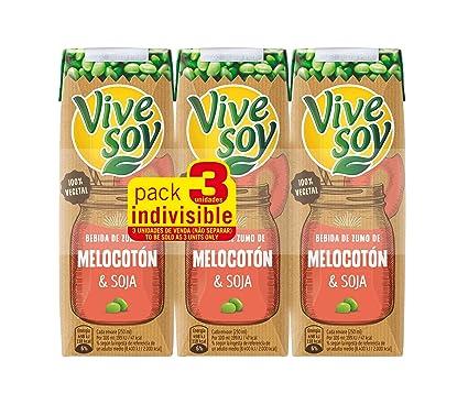 Vivesoy Zumo de Soja y Melocotón - Paquete de 3 x 25 cl - Total: