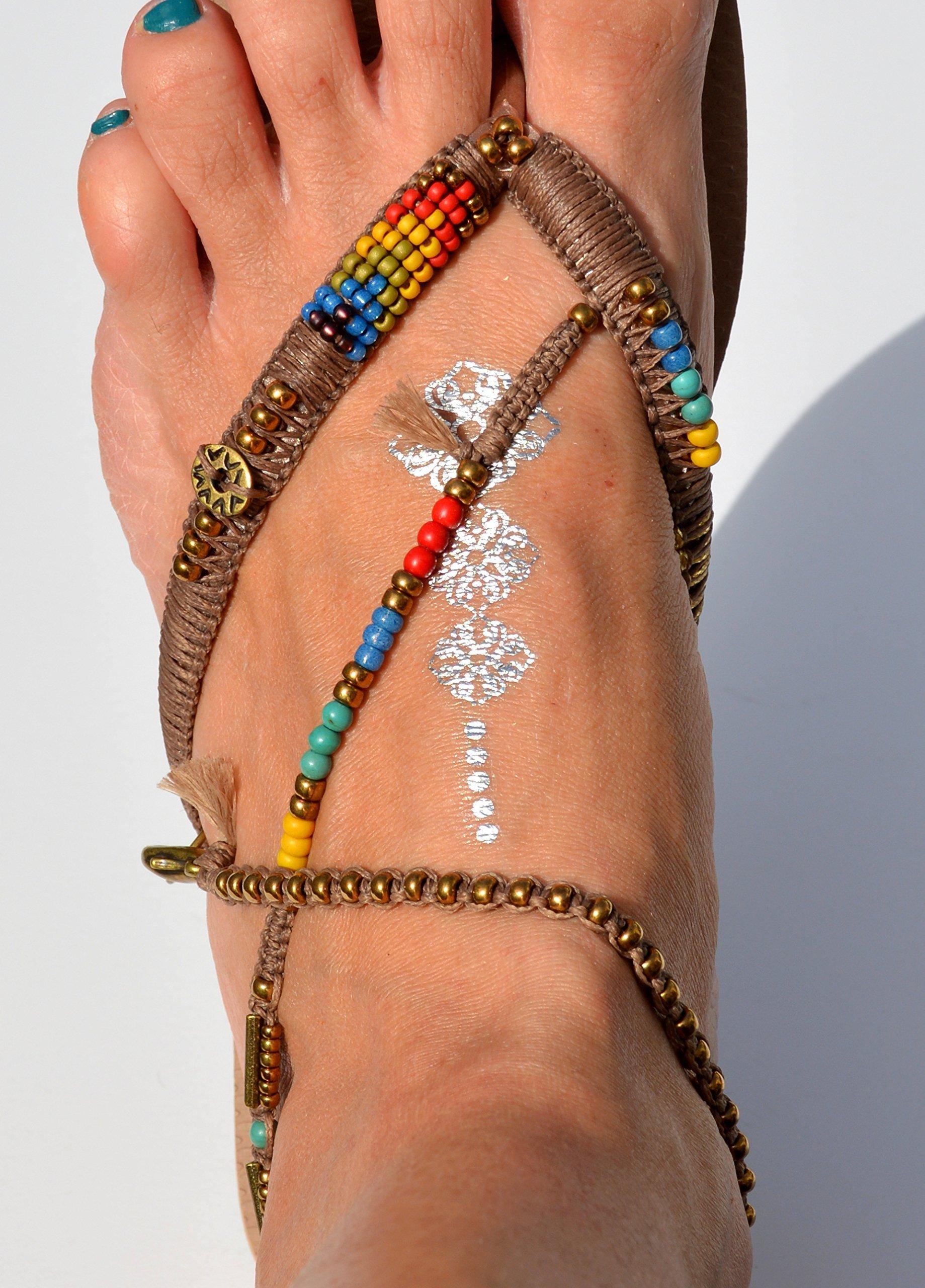 Unique Women's Sandals, Boho Vegan Flat Beaded Shoes, Hippie Decorated Beach Flip Flops with Anklet, Sizes 5-12 US, Handmade Designer