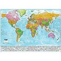 Poster XXL Carte du monde avec drapeaux - 2017 - MAPS IN MINUTES® (140cm x 100cm) + 1 Powerstrips®, tesa adhésifs double face-20pcs