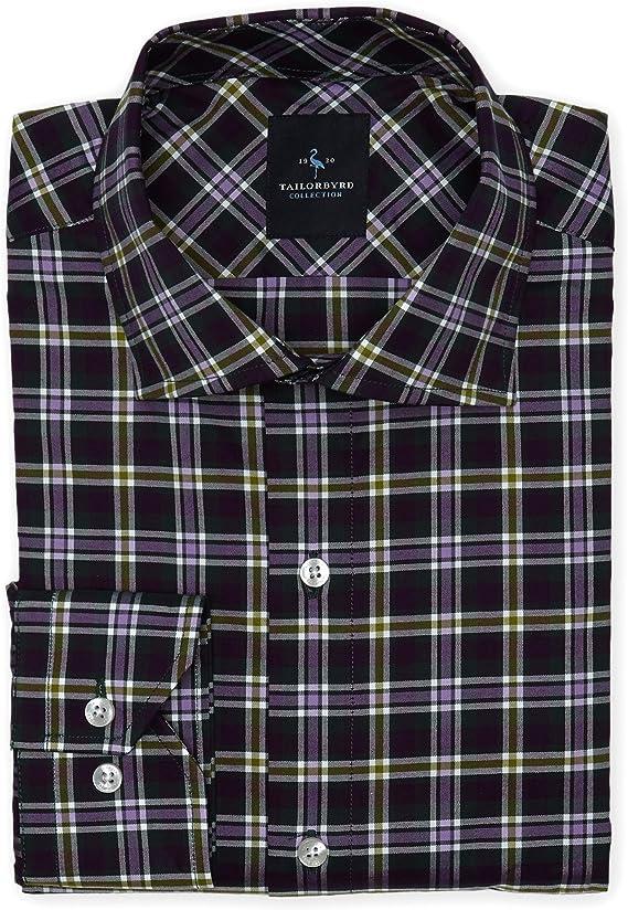 TailorByrd - Camisa a Cuadros con Botones para Hombre - Morado - Medium: Amazon.es: Ropa y accesorios
