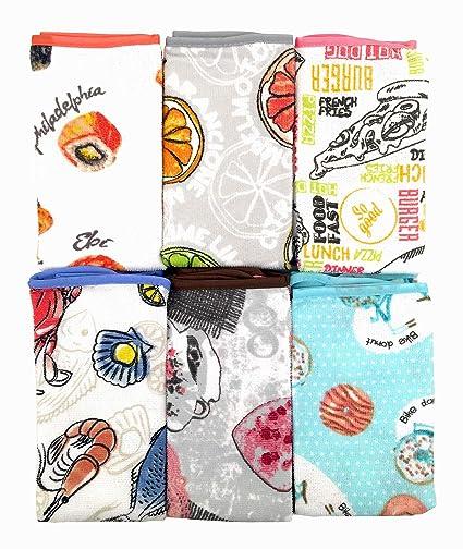 ZD Paños de Cocina 100% Microfibra con Dibujo Estampada,Multicolor,Pack 12 Toallas