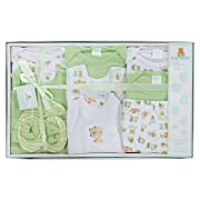 Big Oshi 10 Piece Layette Newborn Baby Gift Set for Boys - Great Baby Shower or Registry Gift Box to Welcome a New Arrival - All Essentials - 2 Bodysuits, 4 Shirts, Bib, Pants, Booties, & Cap, Green