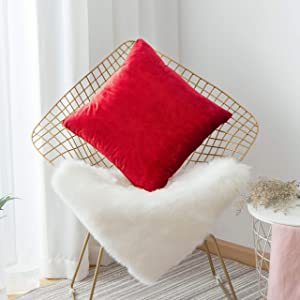 Home Brilliant Christmas Decorative Pillowcase Red Throw Pillow Cover for Sofa Couch Chair Bench Accent Cushion Cover, 45 x 45 cm(18x18), Ruby Red