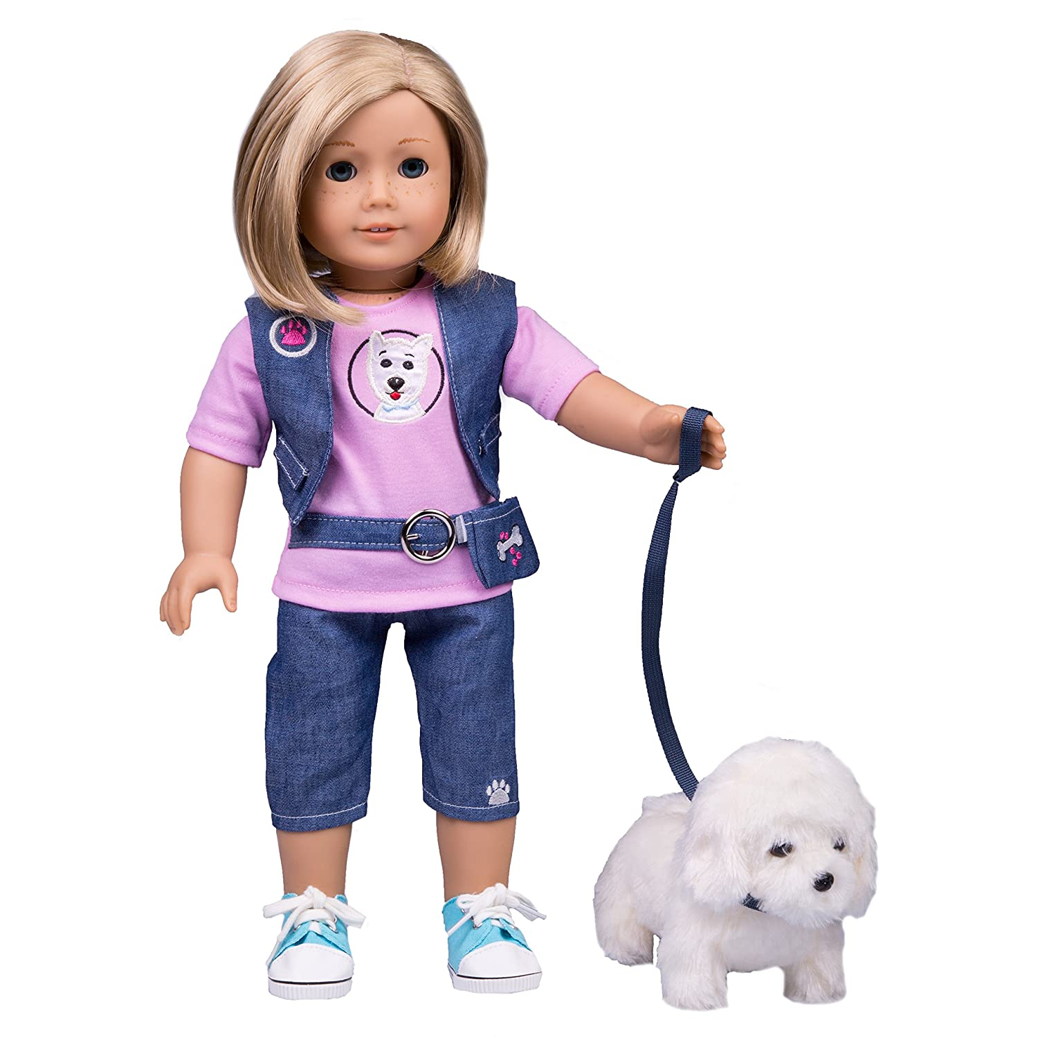 Dress Along Dolly Dog Walker Outfit for American Girl and 18' Dolls (Includes T Shirt, Vest, Pants, Belt, Shoes, Dog, and Leash)