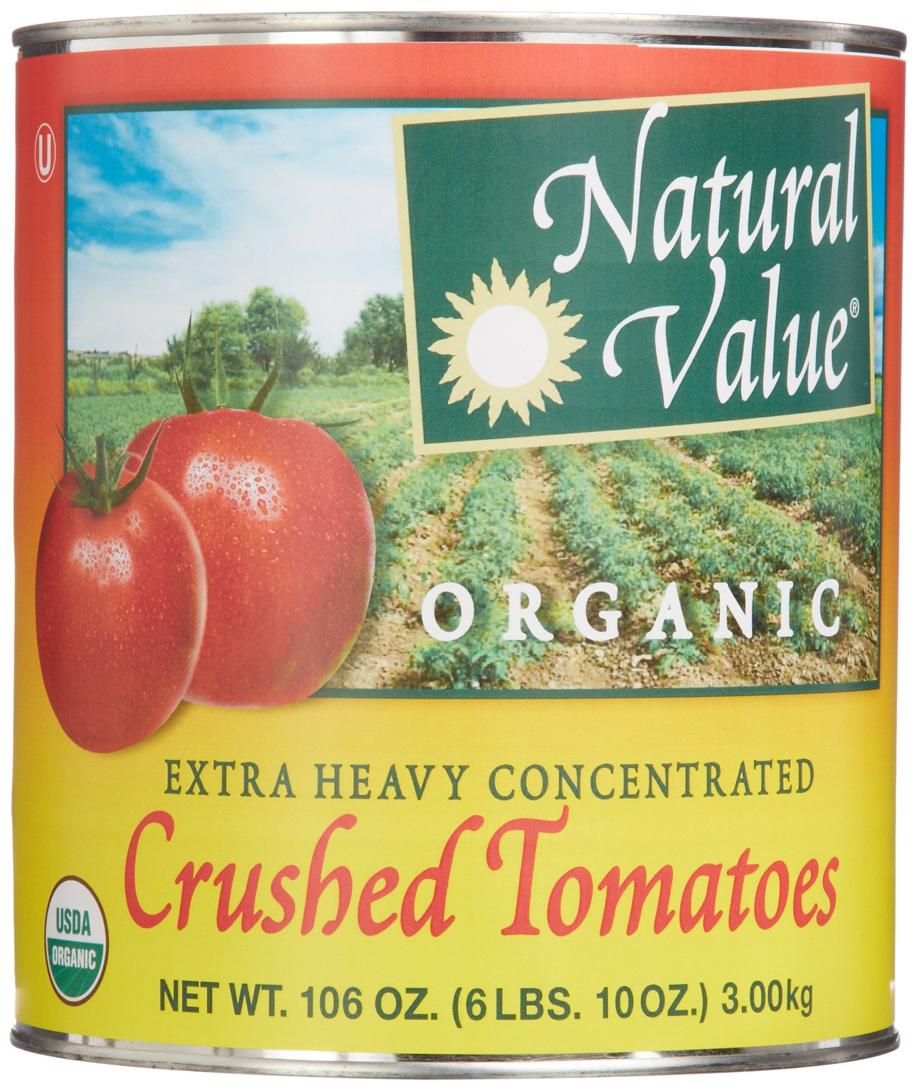 Natural Value Extra Heavy Concentrated Organic Crushed Tomatoes, 106 Ounce (Pack of 6)