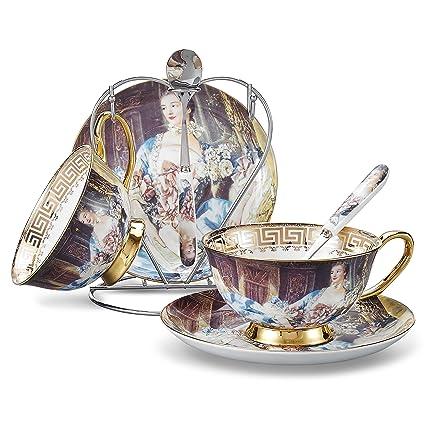 Panbado, Porcelana de Hueso 2 Juego de Taza de Té y Café, Pintura al