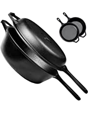 Pre-Seasoned Cast Iron 2-In-1 Multi Cooker | 3-Quart Dutch Oven and Skillet Lid Set Oven Safe Cookware | Use As Dutch Oven and Frying Pan | Indoor and Outdoor Use | Grill, Stovetop, Induction Safe