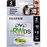 Fujifilm Media 25322008 DVD-RW Camcorder 2.8GB 60 Minutes Double Sided Jewel HT Rewritable - 5 Pack