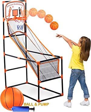 Bundaloo Arcade Basketball Game   Best Portable Hoop Shooting Games for Kids   Indoor & Outdoor Mini Sports Playset   Fun Goal Training Toy for Little Toddlers to Big Boys (Single Shot Arcade)