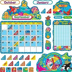 Trend Enterprises Sea Buddies Calendar Bulletin Board Set (TEP8306)