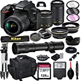 Nikon D3500 DSLR Camera with 18-55mm VR and 70-300mm Lens Bundle with 420-800mm Preset f/8 Telephoto Lens + 128GB Card, Tripod, Flash, and More (23pc Bundle)