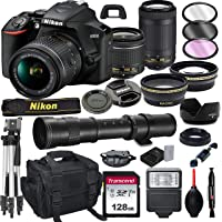 Nikon D3500 DSLR Camera with 18-55mm VR and 70-300mm Lens Bundle with 420-800mm Preset f/8 Telephoto Lens + 128GB Card…