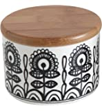 Creative Co-op Ceramic Jar with Bamboo Lid and Black/White Floral Design, Multicolor, Small