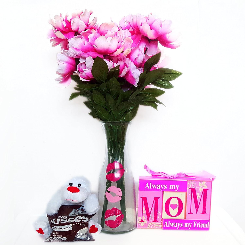 Amazon I Love You Mom Artificial Peony Flowers Bouquet Bundle