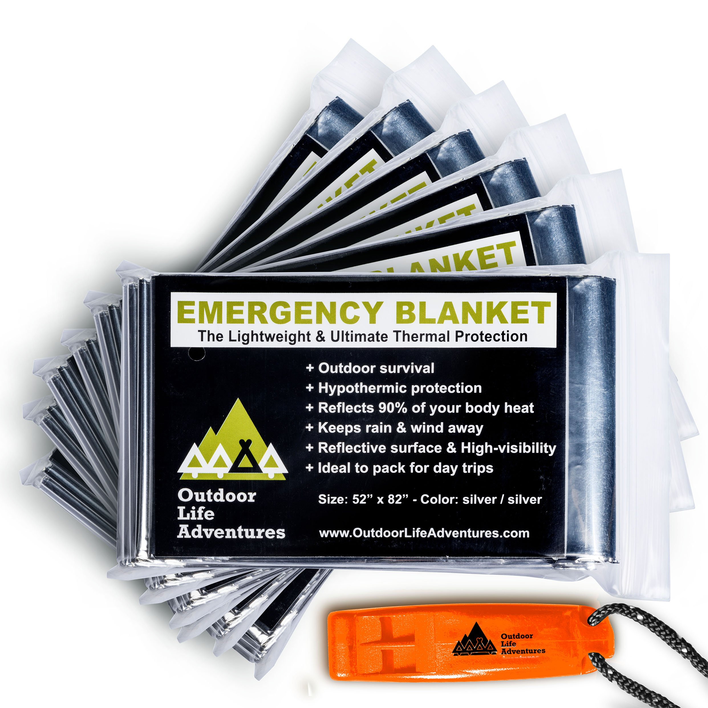 Versatile Emergency Blanket (6-Pack) – Essential Outdoor Survival Gear for Camping and Hiking – Made From Strong Mylar Foil for All Weather Protection – Includes Bonus Emergency Whistle and User Guide