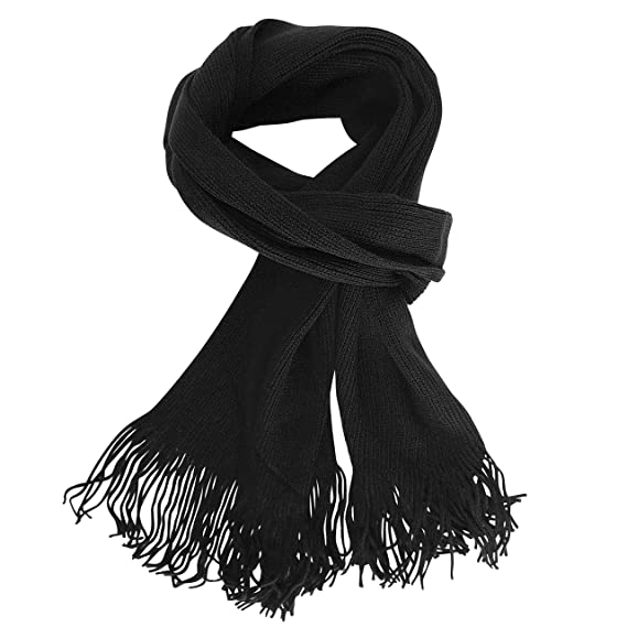 FERETI Longue Écharpe Homme Tricoter Unie couleur Noir Urbaine Foulard Uni  Solide Plaine Chale Mailles eec7c183a4a