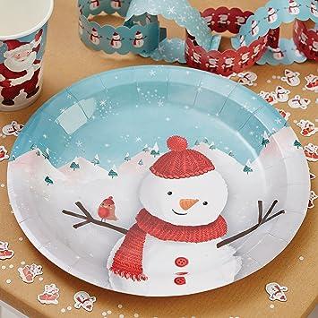 Ginger Ray Weihnachten Party Schneemann Kinder Pappteller X 8