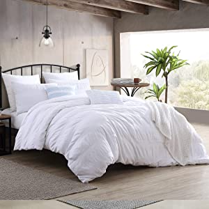 Swift Home Moselle Cotton Ruched & Waffle Weave Duvet Cover Set, Oeko-Tex Certified, Ultra Soft and Breathable, Button Closure, All Season - White, Full/Queen (88