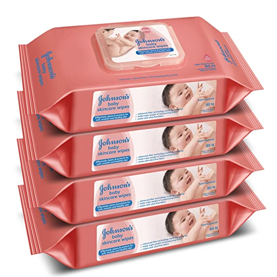 Johnson's Baby Wipes Pack of 4 (80 Wet Wipes per Pack)