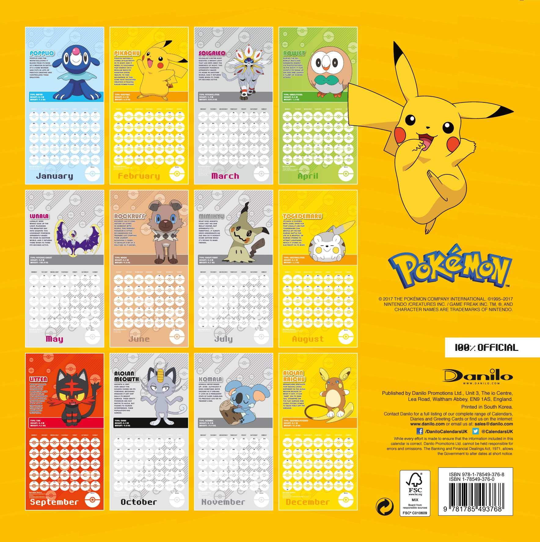 Pokemon Official 2018 Calendar   Square Wall Format: 9781785493768
