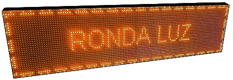 CARTEL LED PROGRAMABLE LETRERO LED PROGRAMABLE (128 * 32 cm, NARANJA ÁMBAR) PANTALLA LED PROGRAMABLE ROTULO LED PROGRAMABLE CARTEL ELECTRÓNICO ANUNCIA ...