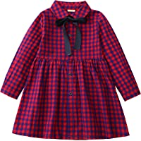 3ca4a717dbc3c SenseFit Kids Girls Dress Cotton Long Sleeve Ribbon Casual Shirt 3-8 Years