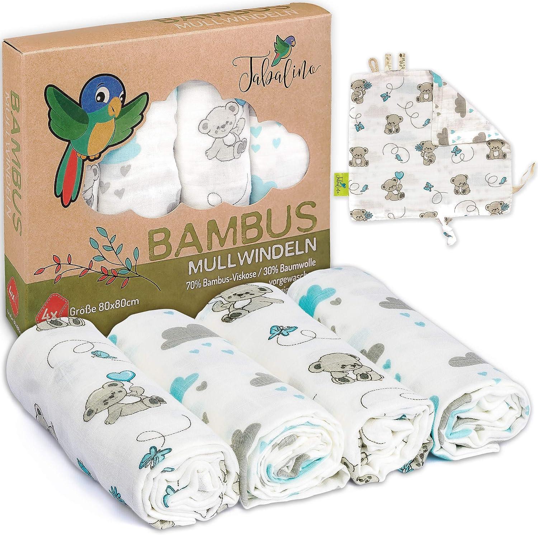 Tabalino - sueño antiadherente suave bambú Gasas/Motherhood - Toalla con simpáticos motivos; 80 x 80 cm; 4 unidades) con Gratis Manta de seguridad y del paquete de regalo (Chico & Chica)