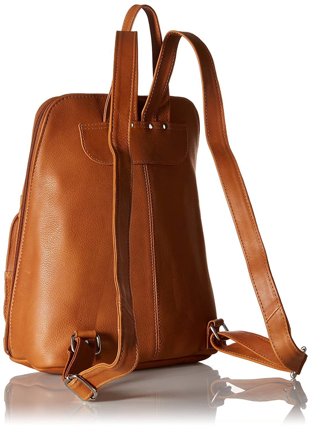 Piel Leather Slim Tablet Backpack W//Front Pockets Charcoal