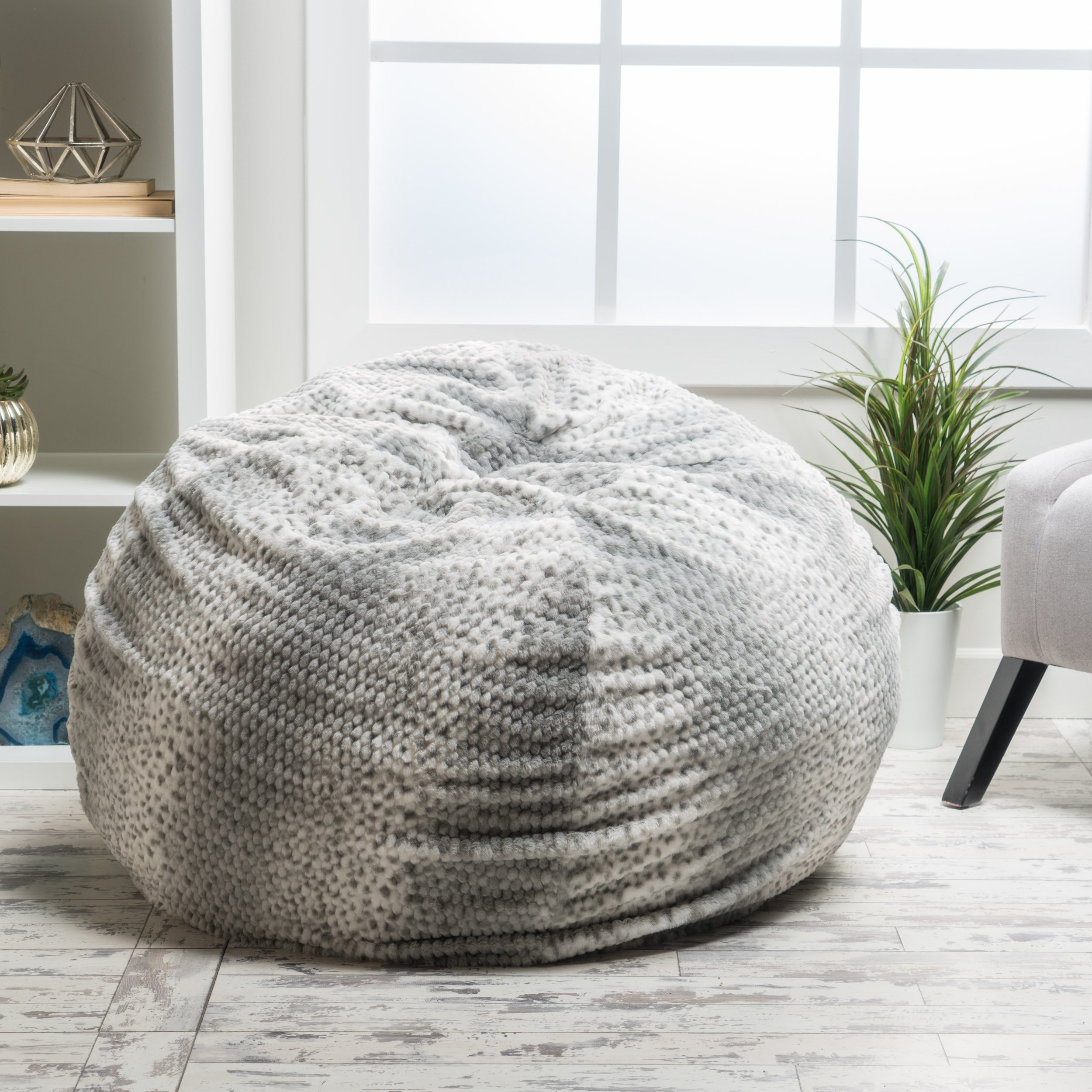 Meridian Bean Bag Chair | Plush Faux Fur Chair | Comfortable and Fun Beanbag for the Whole Family| Non-Spill Memory Foam Filling (Silver Dusk)