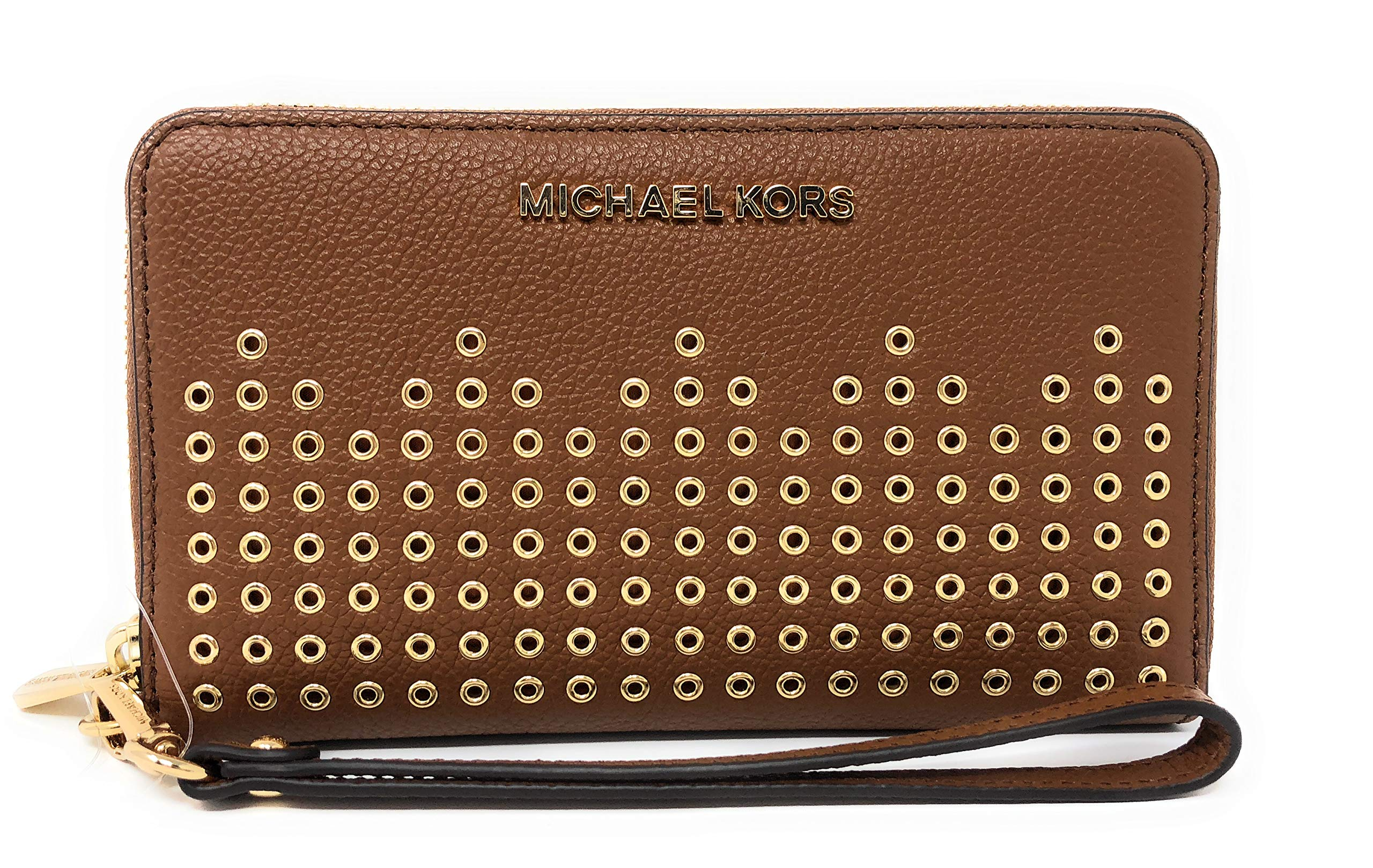 Michael Kors Hayes LG Flap Multi Function Phone Case Leather Wristlet Wallet (Luggage)