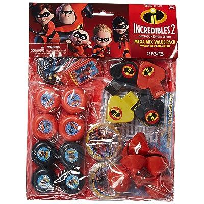 "amscan Disney/Pixar Incredibles 2"" Mega Mix Value Pack, Party Favor: Toys & Games"