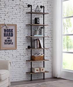 Hombazaar Industrial 6-Tier Modern Ladder Shelf Bookcase, Vintage Metal Pipes and Wood Shelves, Rustic Display Bookshelf for Storage Collection,Retro Brwon