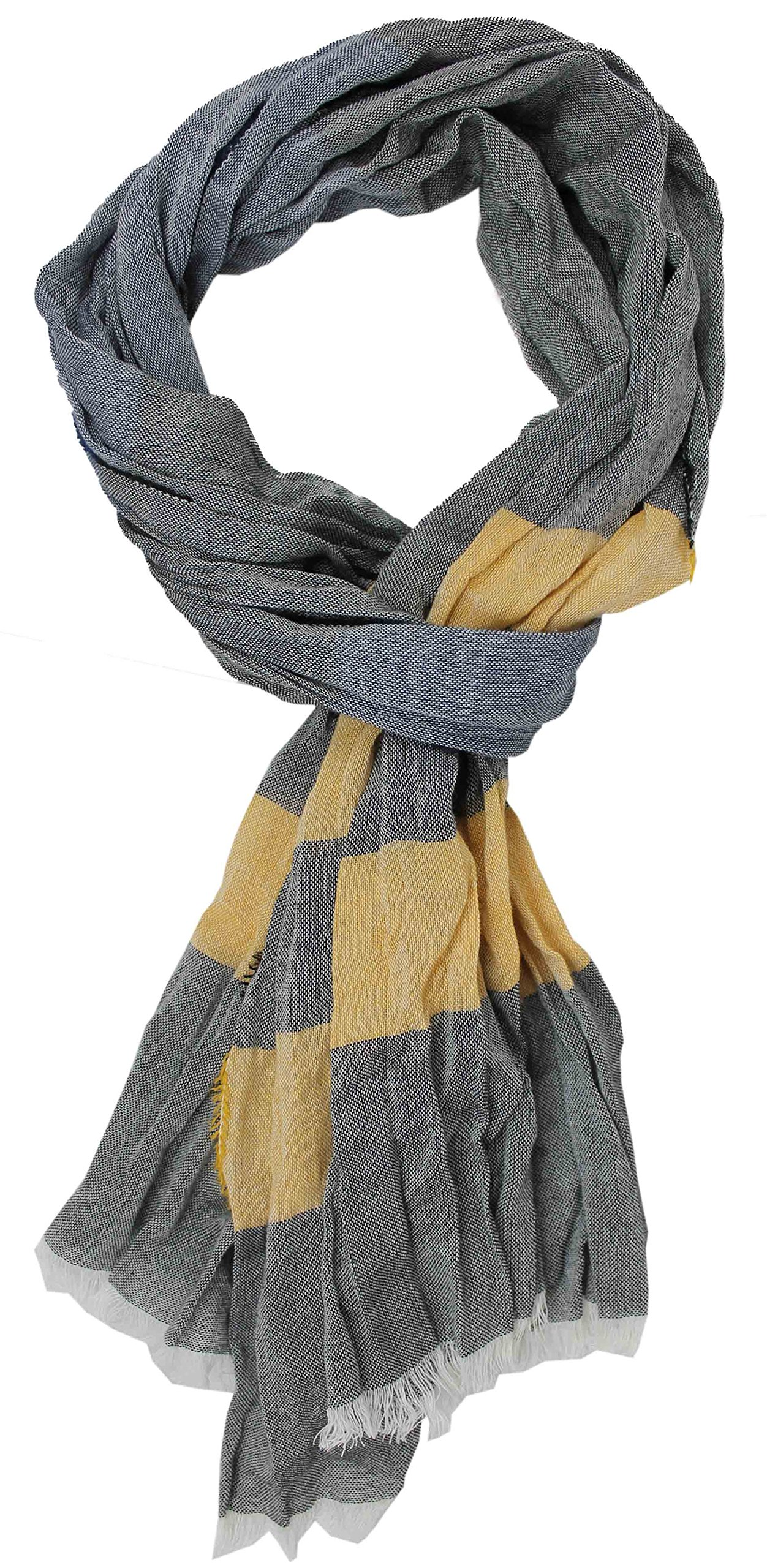 Cotton scarf Ladies scarf Summer scarf Rotfuchs stripes light multicolored 190 x 20 cm Made in Germany
