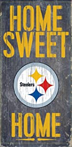 """Fan Creations - Pittsburgh Steelers Wood Sign - Home Sweet Home 6""""x12"""""""