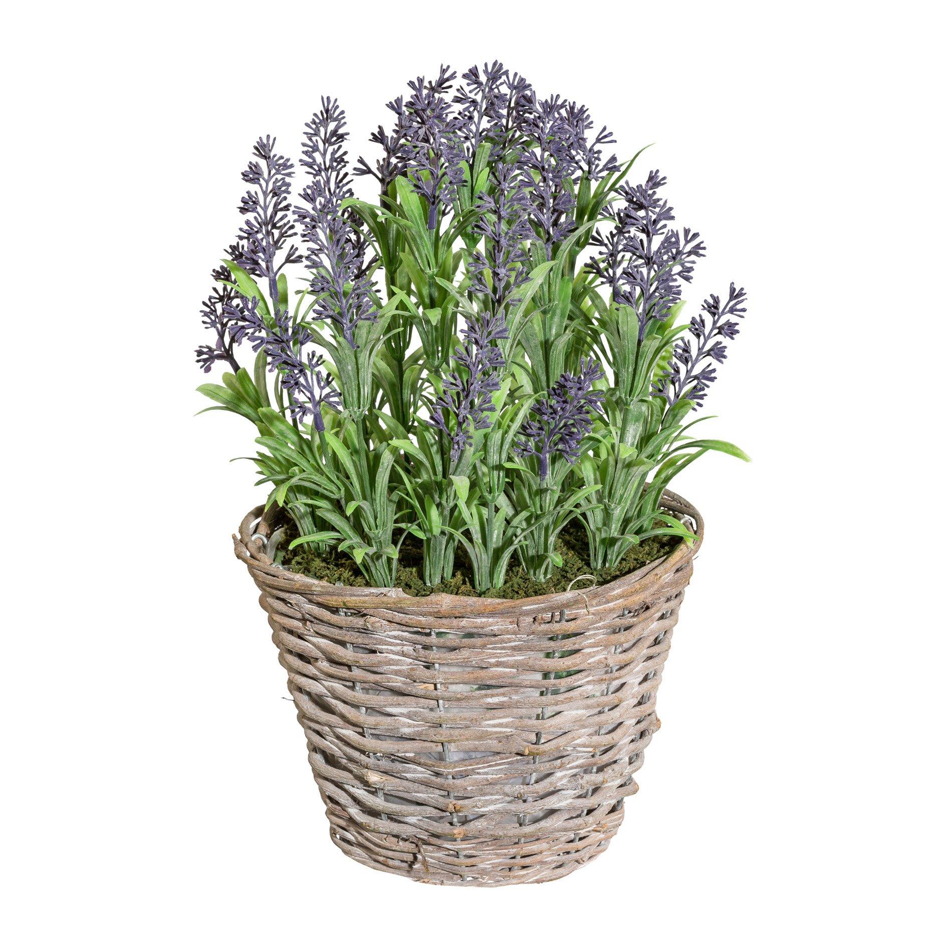 Deutschmade Artificial Plant, Faux Purple Lavender Bush in Wicker Basket, 14 Inch Tall
